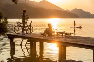Rennradtour zum See - Sonnenuntergang